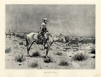 FREDERIC REMINGTON AMERICAN WEST COWBOY RIDING HERD IN THE RAIN CATTLE HORSES
