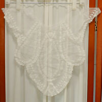 Women's Antique ESTATE Lace EDWARDIAN Modesty Panel Tulle Floral Sheer White