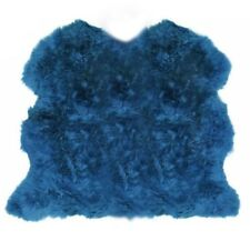 Lambland Extra Large Genuine Sheepskin Rug Size Triple UK Made Cornflower Blue