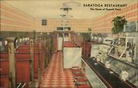Warren OH - The Saratoga Restaurant ART DECO LINEN Interior Postcard