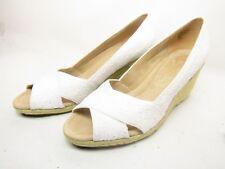 St. Johns Bay Carlen Womens Peep Toe Espadrille Wedges  White Size 11M