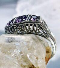 Amethyst Sterling Silver Filigree Art Deco 1920's Repro Lattice Ring Size 5