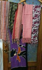 Job Lot Bundle 6 Ladies Scarves Scarfs Silk, Cotton, Pinks, Purples, Stripes