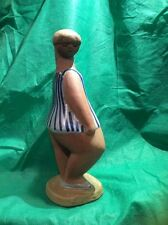 """Dora Lisa Larson Sweden Figure Statue Girl WomanArt Pottery Vtg Signed 10"""" Tall"""