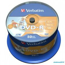 100 DVD -R PRINTABLE VERBATIM AZO 16x vergini vuoti stampabili DVDR PRINT 43533