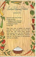VINTAGE 1950s VEGETABLES SCALLOPED HAM AND POTATOES RECIPE NOTE CARD ART PRINT