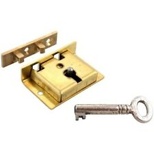 "S-8 BRASS CHEST LOCK WITH KEY 1-1/2"" W. x 1"" H. HIGH QUALITY ENGLISH MADE LOCK"