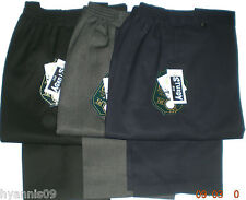 Boys Sturdy Comfort Fit School Trousers Pants Kids Age 7- 13 Black Navy Grey