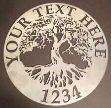 "Tree of Life Wall Art Custom Welcome Name Sign 23.5"" Metal Personalized"