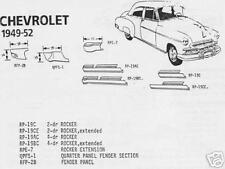 Chevrolet Chevy Pontiac Olds 4 Door Rocker Panel, Right 1949-1952 Schott