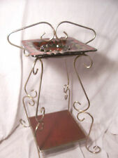 Vintage Metal Ashtray Stand- Beard Co Pottery Tray- Ornate Stand- Mid Century