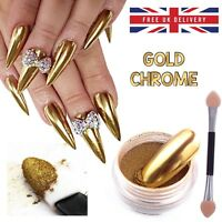 GOLD CHROME NAIL MIRROR POWDER EFFECT Pigment NAILS New Trend Magic Dust UK (P)