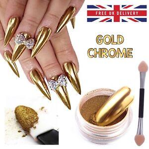 GOLD CHROME NAIL MIRROR POWDER EFFECT Pigment NAILS New Trend Magic Dust UK (P)