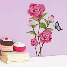 Pink Rose Flower Decal Magnolia Art PVC Wall Sticker Removable Home Wall Decor