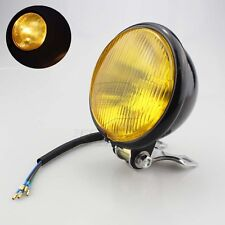 """5""""Black Yellow Lens Metal Round Motorcycle Headlight Assembly High/Low Beam Lamb"""
