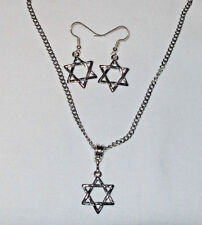 Star of David Earrings and Pendant/Charm Set Stainless Steel Curb Chain