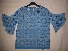 Women's Colourful Blue Partcially Transparent Tops with Ruffles by Next size 10