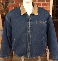 Vintage 90's Maxwear Mens Sz L Heavy Denim Jean Sherpa Gusset Back Jacket Coat