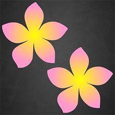 2 Plumeria Decal Flower Sticker Hawaiian Car Surf Island Beach Tropical Pnk/Yel