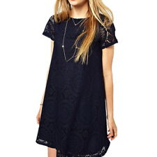 Plus Size Women Lady Short Sleeve Lace Hollow Out Casual Tops A-line Skirt Dress