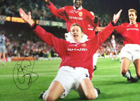 OLE SOLSKJAER SIGNED MANCHESTER UNITED CHAMPIONS LEAGUE 1999 PHOTO COA & PROOF