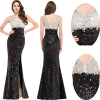 High-Split Lady Sequined Cocktail Bodycon Evening Ball Prom Party Dress UK 4-18