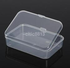 2PC Clear With Lid Small Plastic Storage Box Jewelry Collection Container New A^