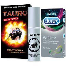 Spray Ritardante Tauro Extra Power + 6 Preservativi Durex Performa Ritardanti