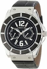 NEW Cerruti 1881 CRA015E222H Men's La Montre Black Dial Black Strap Silver Watch