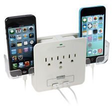 Wall Mount Charging Station with 3 Outlet Plug and 2 USB Ports
