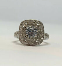 Silver Plated Copper 7mm White Sapphire  Solitaire  Accent's Ring Size 10 US