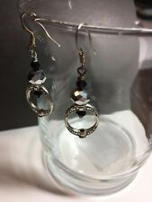925 Sterling Silver Ear Hook Earrings Black  Crystal Beads