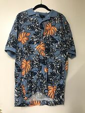 NWT NAUTICA COLLARD BLUE ORANGE SHIRT MENS LARGE 100% COTTON RNS044 NEW WITH TAG