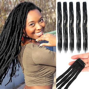 "Handmade 20"" Clip in Dreadlocks Arot Twist Braids Locs Synthetic Hair Extension"