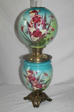 ANTIQUE  Gone with the Wind Oil Lamp with ORCHIDS ~  Fancy Font Ring and Base