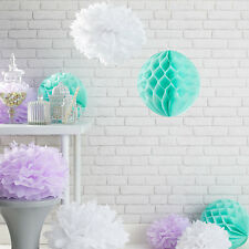 9er Set Pompoms Wabenball Party Dekoration Weiß Flieder Mintgrün Papier Blumen