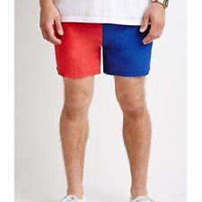 21 Men's Red / Blue Color Block Swim Trunks Board Shorts - Size XL