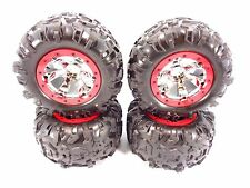 NEW TRAXXAS 1/10 SUMMIT CANYON AT TIRES & 17mm CHROME GEODE WHEELS RED 5607