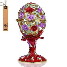 Faberge Egg Holder Trinket Box Hinged Jewelry Ring Collectible Figurine Boxes