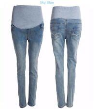 Maternity jeans Over Bump Skinny Straight Pregnancy Denim Pants  Inside leg 26in
