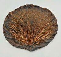 Turkish Hand Painted Glass Platter Serving Tray Decorative Gold Bronze Leaves