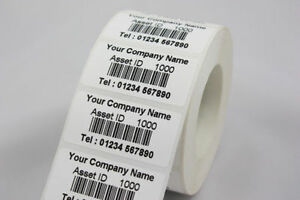 Roll 500 Personalised Barcode Asset Labels 51 x 25mm Stickers  (PAT Testing)