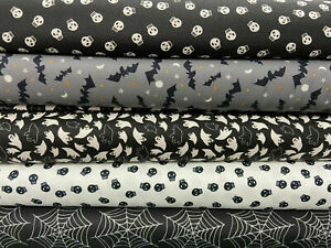 Moda Holiday Essentials Halloween Gothic Cotton Fabric by 1/4 Metre* Bat Skull