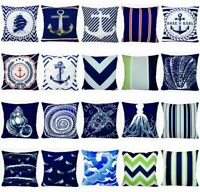 "Navy Blue Ocean Throw PILLOW COVER Coastal Sea Velvet Soft Cushion Case 18x18"""