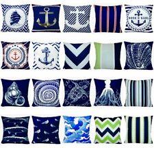 """Navy Blue Ocean PILLOW COVER Coastal Sea Velvet Home Decor Cushion Case 18x18"""""""
