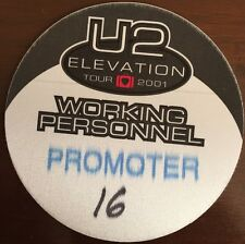 U2 - Elevation Tour 2001 - Promoter - backstage pass working personnel