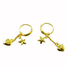 A PAIR GOLD PLATED EARRINGS HEART N STAR SHINY CUTTING  24K YELLOW GOLD GP BAHT
