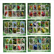 PARROTS  BIRDS 6 SOUVENIR SHEETS  UNPERFORATED  2X5