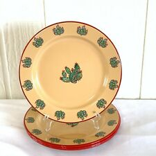 """4 Marble Canyon Enamelware Salad Bread Plates Cactus Southwestern Ranch 7-3/4"""""""