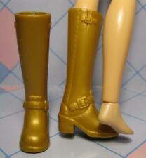LIV FASHION DOLL CLOTHES: CHUNKY HEEL TALL GOLD Boots Shoes-EASY ON BACK SLIT